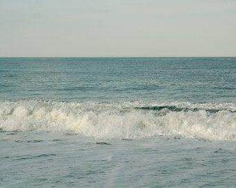 Sea photography, relaxing art ocean horizon art 16x20, aqua blue teal wall art, coastal print, bathroom artwork, seascape art photo decor