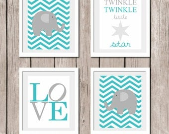 "INSTANT DOWNLOAD - AQUA Set of 4 Prints Elephant Love Twinkle Little Star Printable Wall Art Print 8""x10"" (jpeg file) Kids Decor"