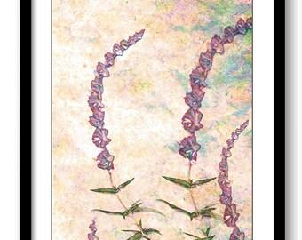 Purple Lavender Flower Bathroom Art Print Pink Coral Blue Green Modern Elegant Bathroom Wall Decor Flower Watercolor Painting Bedroom
