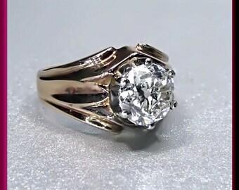 Antique Vintage Victorian 14K Pink Gold Old European Cut Diamond Engagement Ring