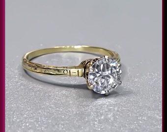 Antique Vintage Victorian 14K Yellow Gold Engraved Old European Cut Diamond Engagement Wedding Ring