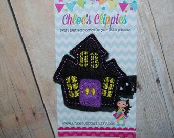 Halloween Hair Clippie - Haunted House Felt Hair Clip - Felt Halloween Barrette - Halloween Felt Hair Bow for Baby - Black Purple Halloween
