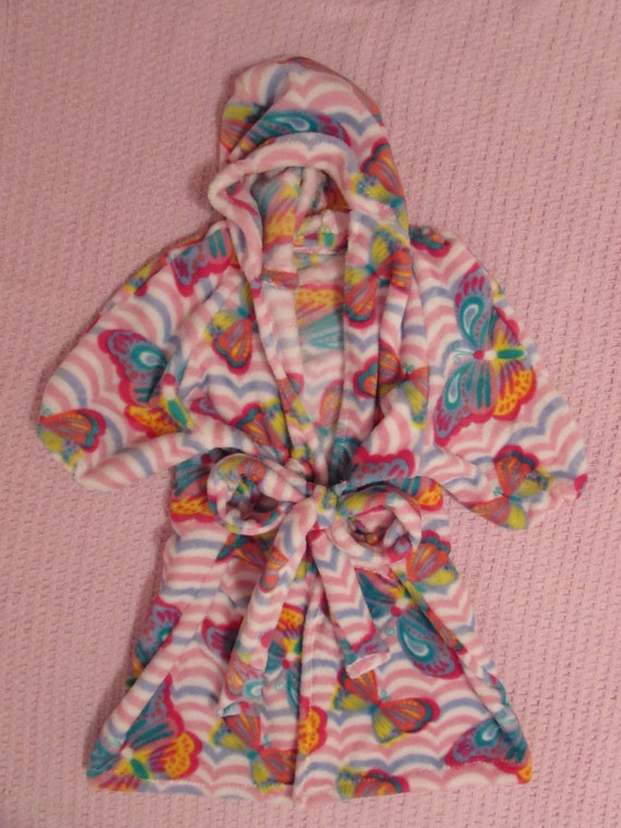 Girls robe / plush / butterfly, owl, skulls, peace, fox, plain black or hot pink plush robe with pockets sizes 2T to 14 girls