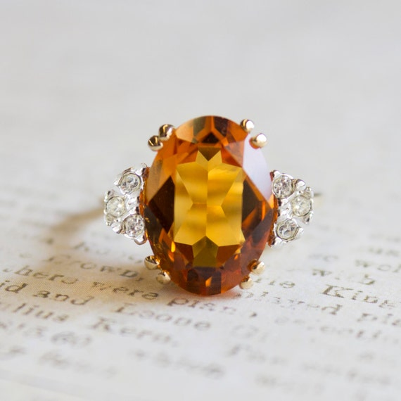 Vintage 1970s Brown Topaz Austrian Crystal Ring with Clear Crystals on Two Tone Accent November's Birthstone Color Made in USA #R1301