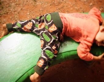 Harem Pants for toddlers • South African Makoti Wax Print • Green+Orange • Babyshower/Birthday Gift