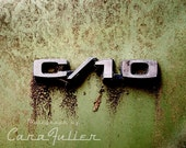 Green Chevy C/10 Logo Photograph