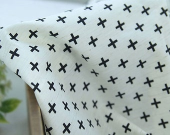 Cotton Linen Fabric Black Cross By The Yard