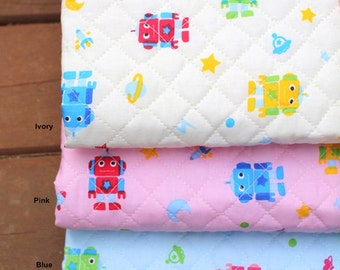 Quilted Cotton Polyester Fabric Robot in 3 Colors By The Yard