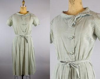 Green Gingham Dress / 60s Dress / 1960s Dress