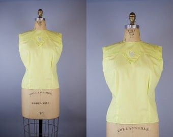 1950s Blouse /  Yellow Blouse / 1950s Blouse