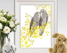 Birds wall art printable Cockatoo print Yellow gray home decor Love birds Gray yellow Bird decor Birds in tree Nursery art 11x14 DOWNLOAD