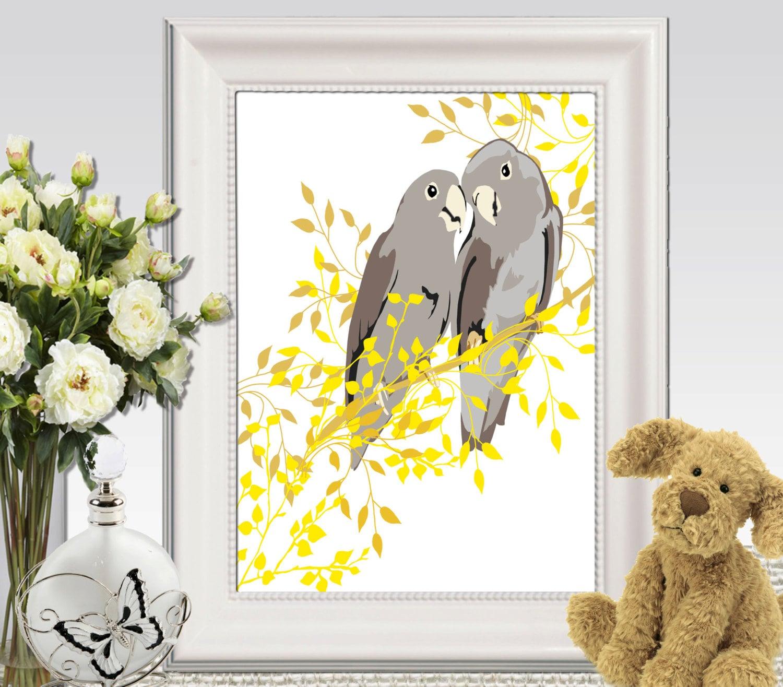 Birds wall art printable cockatoo print yellow gray home decor for Home decor yellow and gray