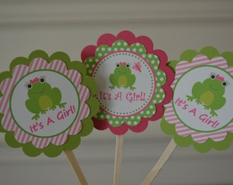 Frog Cupcake Toppers - Frog Baby Shower - It's A Girl Cupcake Toppers - Frog Birthday - Pink and Green Frog Baby Shower - Set of 12