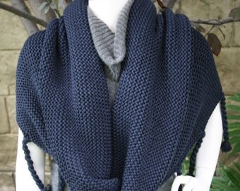 Cowncho Cowl Poncho Deep Navy Blue Scarf Wrap Shawl with Tassels