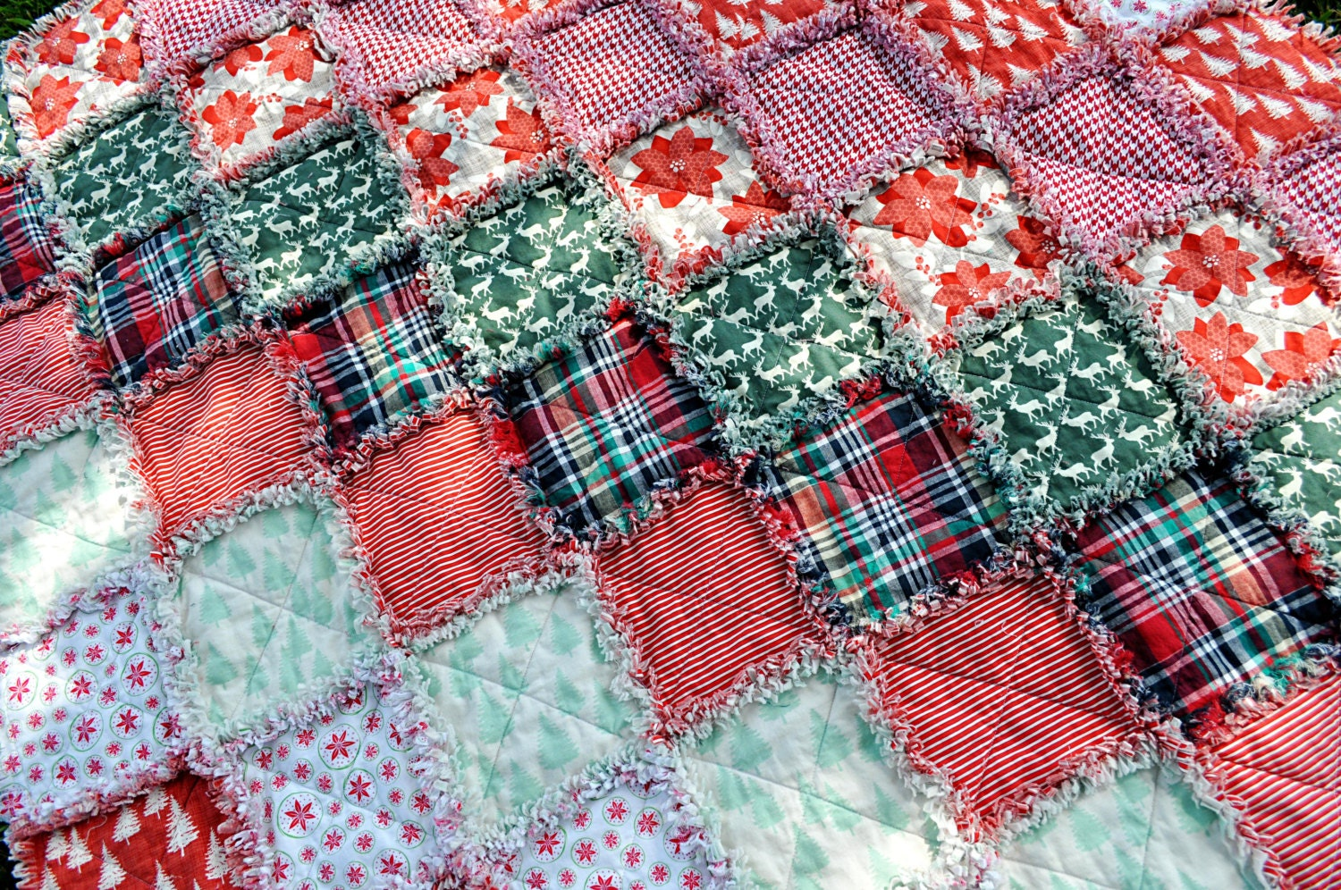 NEW LISTING-Large Christmas Rag Quilt Blanket Featuring