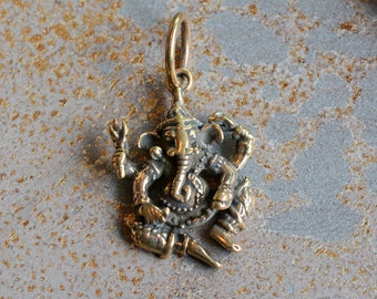 Four Armed Ganesh Pendant of Bronze, Dancing Ganesh Pendants,Nepalese Ganesh,Hindu Diety,Remover of Obstacles Pendant, Elephant God,BS15-45