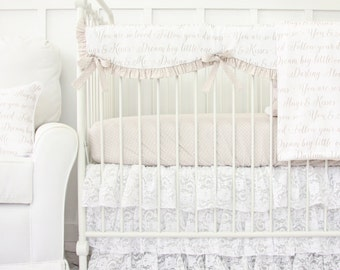 Vintage Lace Ruffle Designer Bumperless Baby Bedding | 2 or 3 piece set in taupe and white Love Letters Collection