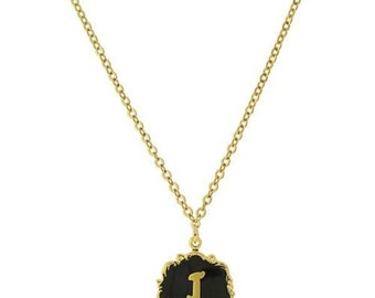 "Necklace J Letter Gold Tone Edged Black Enamel Initial ""J"" Pendant Necklace"