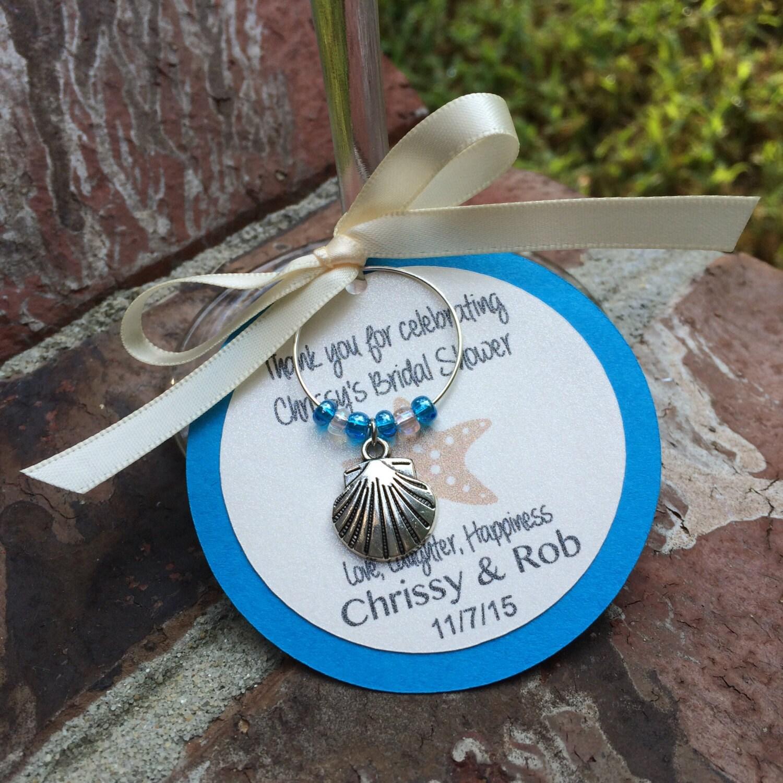 Beach Wedding Favors: Wedding Wine Charm Favors Personalized Beach Theme Bridal