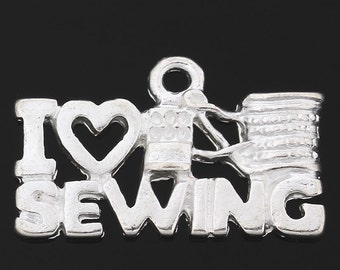 4 I love Sewing Charms I Heart Sewing Pendants Needle Thread 4143