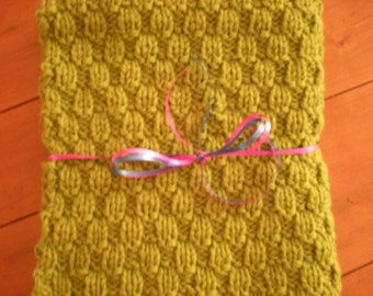 Handknit Baby Blanket, Knit Baby Blanket in Green, Handknit Receiving Blanket, Knit Bassinet Blanket