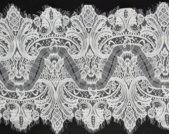 OFF WHITE Exquisite wedding Lace, Eyelash Lace Trim in black for sewing, Shawls, Skirt, Lingerie,white lace trim-3129
