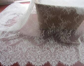 Chantilly Eyelash Lace Trim, Chantilly Lace Fabric, 59 inches Wide for Veil, Dress, Costume, Craft Making, 3 Meter/piece-HJ197