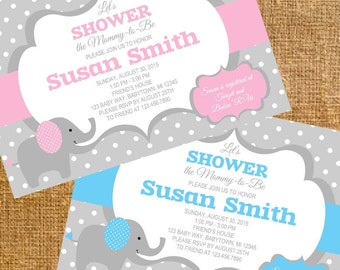 Customized Elephant Baby Shower Invite - Digital File
