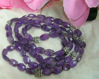 Long Faceted Amethyst Necklace with 925 silver beads