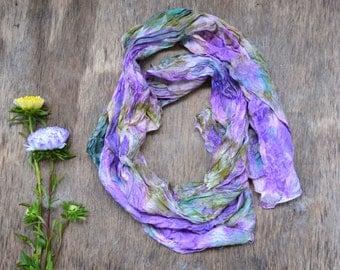 "Silk scarf woman ruffled Hand Dyed ,fuchsia violett lila yellow Scarf  natural silk  18"" by 58"" (45 cm to 147 cm) шарф шёлк натуральный"