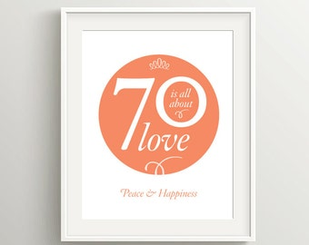 Happy 70th Birthday Card or Poster Instant Download, your choice of colors