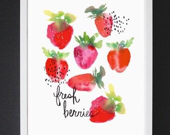 Fresh Berries - Watercolor Art Print