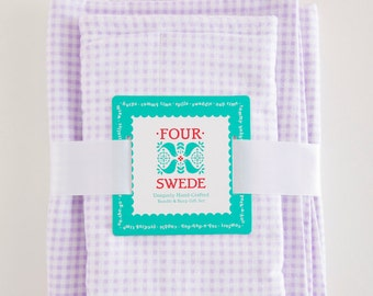 Lavender Gingham Baby Blanket and Burp Cloth | Baby Blanket Set | Spring Baby Shower | New Baby Gifts | Baby Gifts Handmade | Baby Gift Set