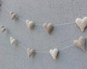Wedding Decoration, Crochet Hearts, Heart Garland, Baby Shower, Photography Prop, Wedding Garland, Party Decor