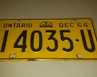 1964 Ontario License Plate. I4035-U. Yellow RAT ROD. Bar Decor. Garage Decor. Man Cave