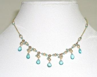 Blue Apatite & Pearl Necklace - item #1530