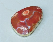 Red Pink Agate Druzy Faceted Bead  - Red Druzy Slab Bead Pendant - Druzy Agate Pendant - Gold Edge - 46mm x 61mm - 8333