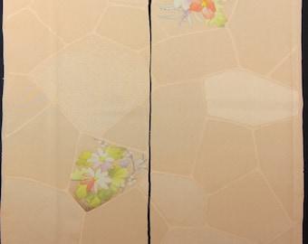 "SALE!! 2pcs(6.8 ""w. x 13.7 ""l.) Vintage kimono silk fabric-Peach Parfait2239K"