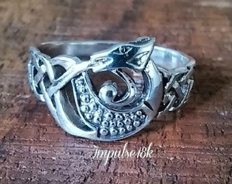 Celtic Ring~Sterling Silver Ring~Dragon Ring~Goth Ring, Size 6 7  8 10 11 12 Gift Boxed, Guaranteed