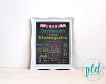 First Day Of School Chalkboard Print (Girl) 16x20, Back to School Poster, Milestones, Printable Chalkboard, Back to School, Girl