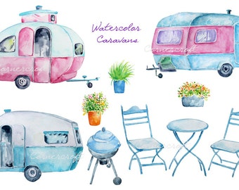Hand painted watercolor blue caravan, pink caravan, barbeque printable instant download scrapbook