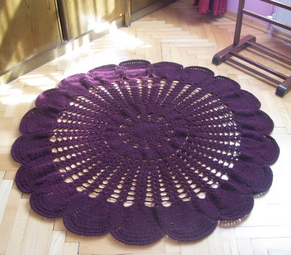 Items Similar To Burgundy Rug, Crochet Rug ,round Rug