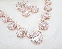Rose Gold Wedding necklace, Rose Gold jewelry Set, Crystal Bridal necklace, Necklace set, Crystal Bridal earrings, Wedding jewelry