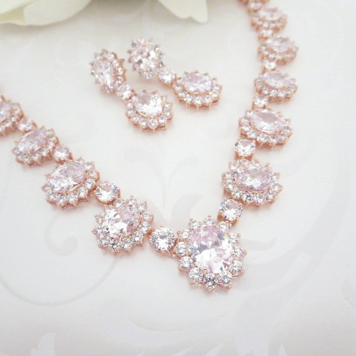 rose gold wedding necklace rose gold jewelry set crystal. Black Bedroom Furniture Sets. Home Design Ideas
