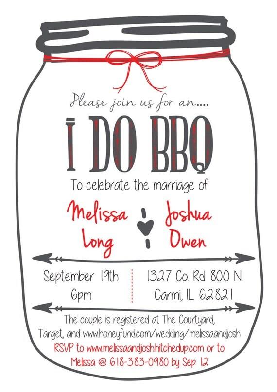 Custom made I Do BBQ Wedding Shower invitation