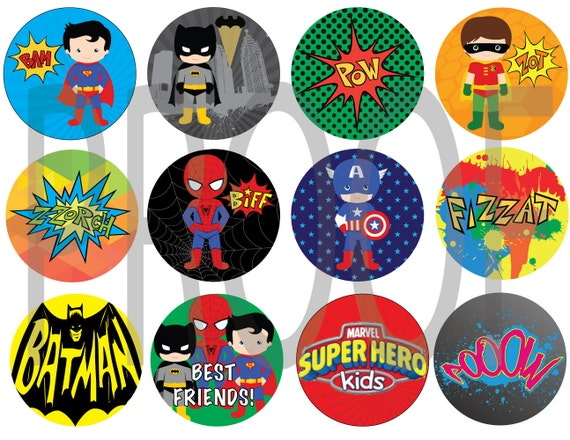 Super Heros Birthday Cupcake Toppers - Superman, Batman, Hulk, Captain America- You print at HOME