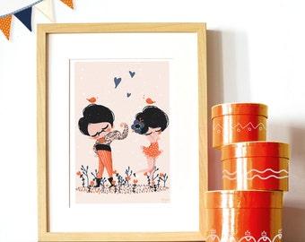 decorative art print - Circus Lovers -1