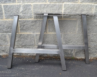 Brushed Metal Stainless Steel A-Frame Table Legs - Any Size!