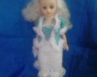 Bride Doll w/ Knitted and sewn dress and accessories
