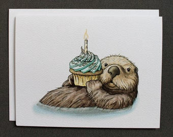 Otter Birthday Cards w/Envelopes {8-Pack}